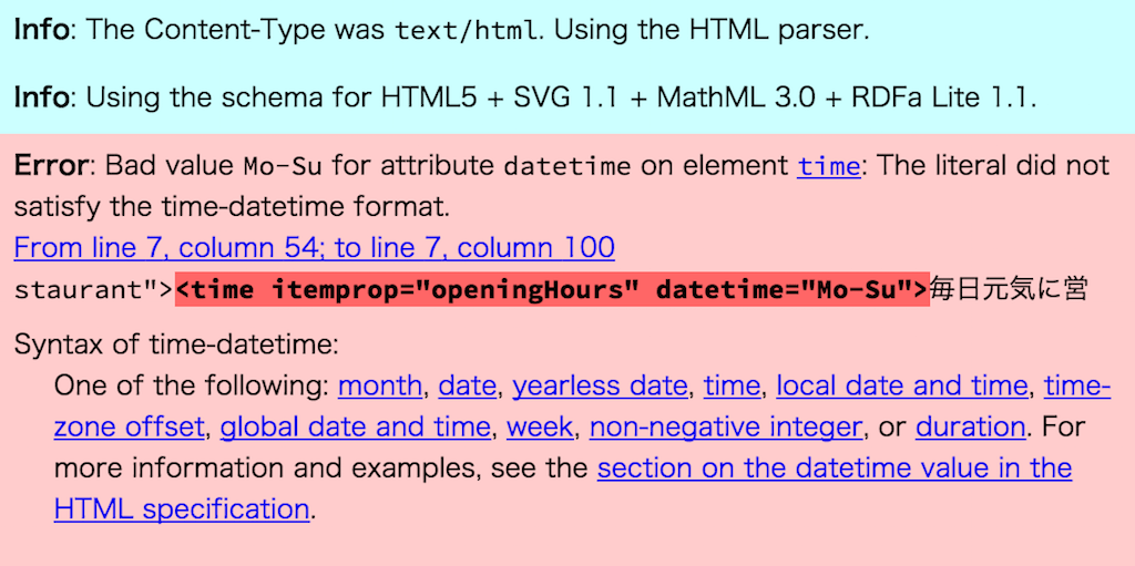 validator.nuでの検証結果。Error: Bad value Mo-Su for attribute datetime on element time: The literal did not satisfy the time-datetime format.のエラーが出てしまう。